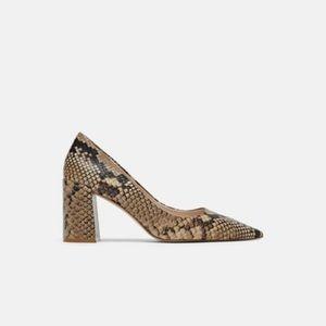 35648d53199 Zara Shoes - Zara Animal print snakeskin snake block heel 39 8